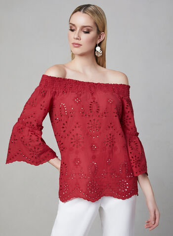 Off-the-Shoulder Blouse, Pink, hi-res