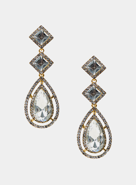Tiered Crystal Dangle Earrings, Gold, hi-res