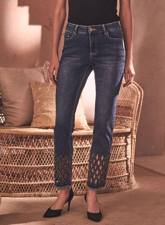 Embellished Cutout Hem Jeans, Blue