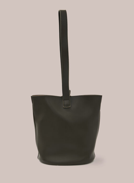 Faux-Leather Bucket Bag , Green