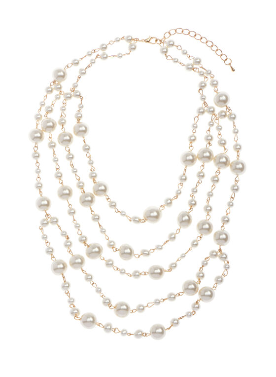 Multi Row Pearl Necklace , Off White, hi-res