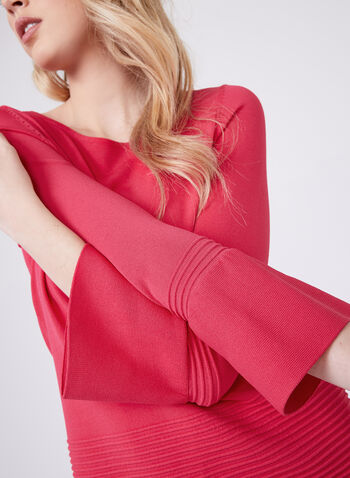 Bell Sleeve Knit Sweater, Pink, hi-res