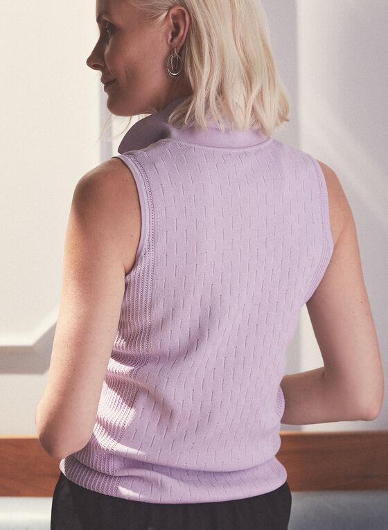 Polo sans manches en tricot pointelle, Violet