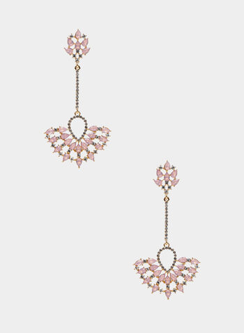 Fan Shape Dangle Earrings, Pink,  earrings, crystals, stones, metallic, teardrop, spring summer 2020