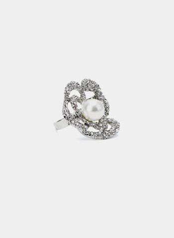 Pearl Flower Ring, Silver, hi-res