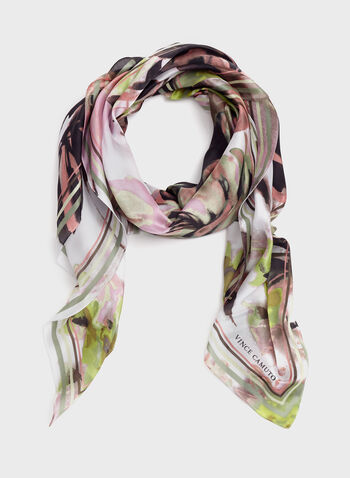 Vince Camuto - Watercolour Print Scarf, Green, hi-res