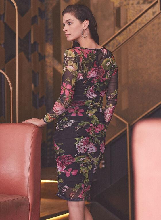Robe ajustée fleurie à manches longues , Noir