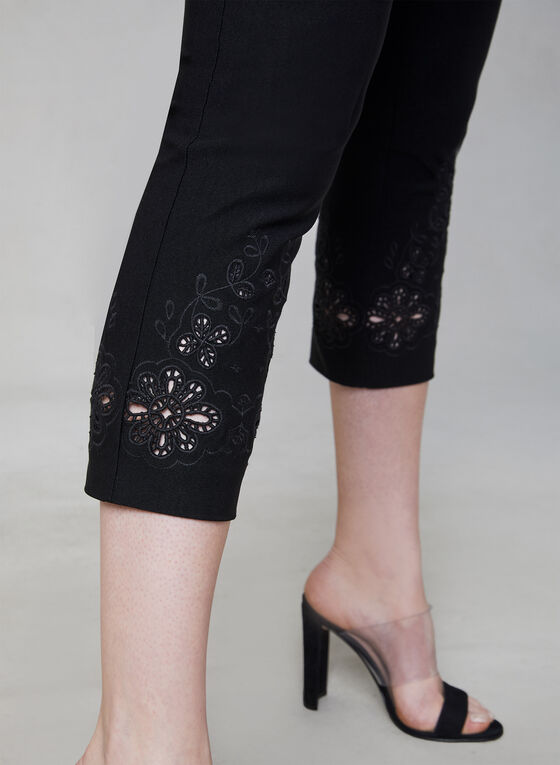 Embroidered Capri Pants, Black, hi-res