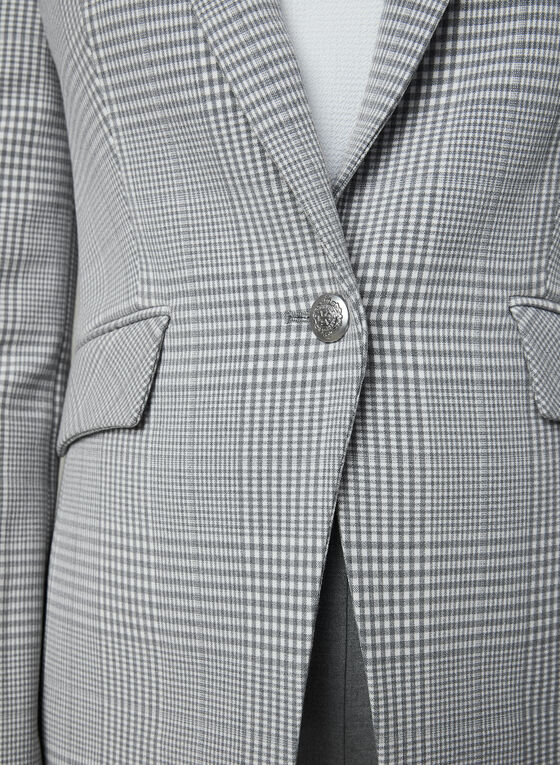 One Button Plaid Jacket, Silver, hi-res