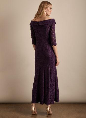 Alex Evenings - Robe en dentelle pailletée, Violet,  robe de soirée, dentelle pailletée, col cœur, épaules dénudées, printemps été 2020