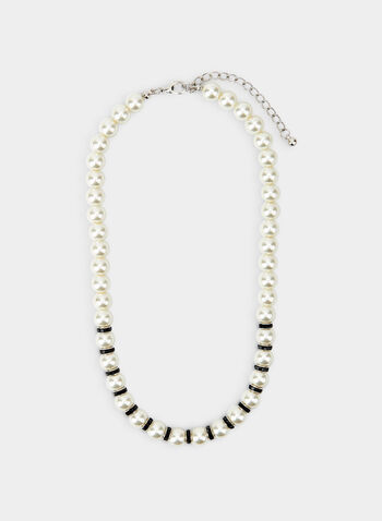 Short Pearl Necklace, Black, hi-res,