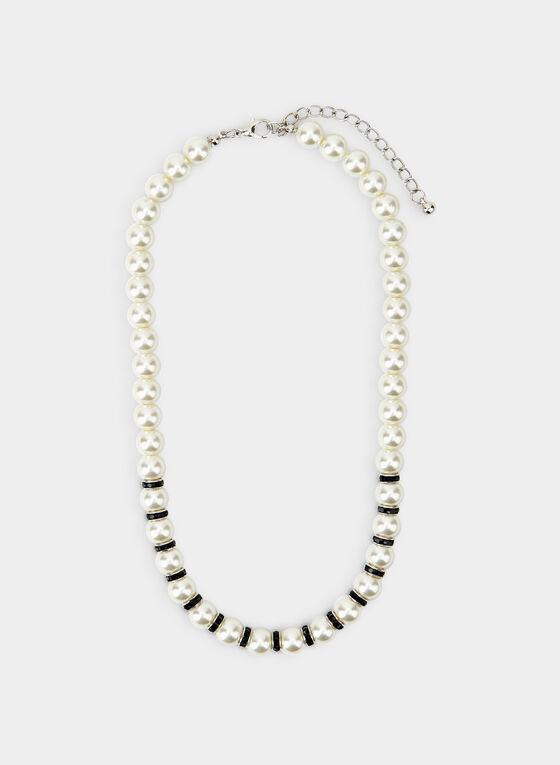 Short Pearl Necklace, Black, hi-res