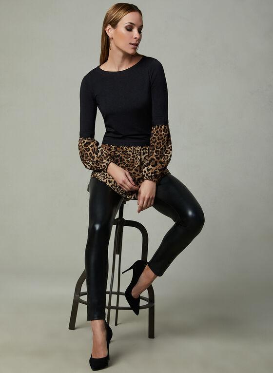 Tunique léopard à effet de superposition, Noir, hi-res