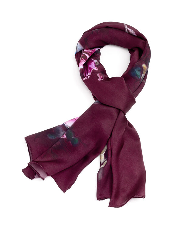 Silk Bird & Rose Print Scarf, Red, hi-res