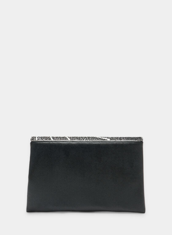 Asymmetric Flapover Clutch, Black, hi-res