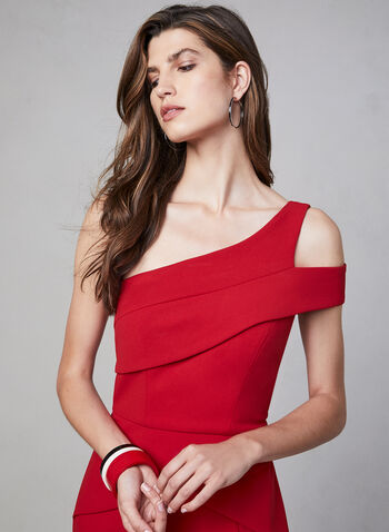 Cachet - One-Shoulder Peplum Dress, Red, hi-res,  evening dress, peplum, sleeveless, cold shoulder, godet, fall 2019, winter 2019