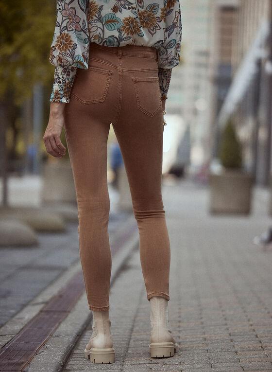 Rhinestone Detail Distressed Jeans, Beige