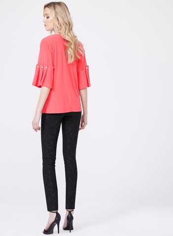 Elbow Length Bell Sleeve Blouse, Pink, hi-res