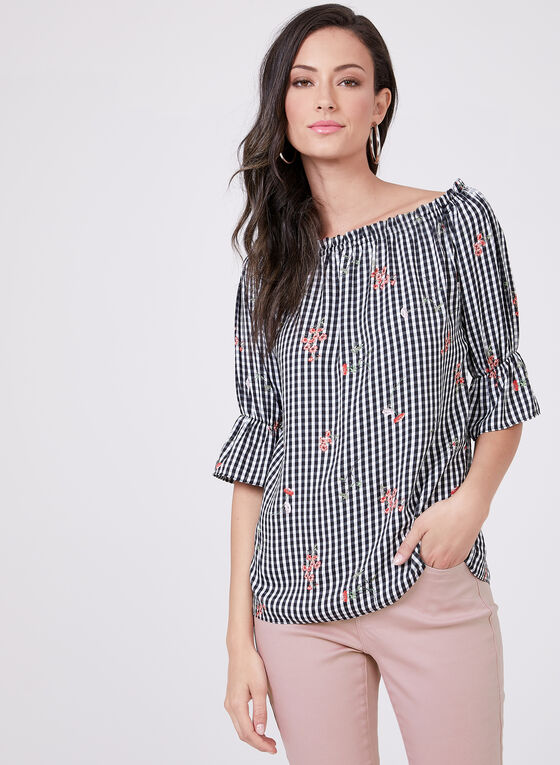 Peasant Gingham Floral Print Top, Black, hi-res