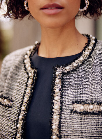 Pearl Detail Tweed Jacket, Black,  fall winter 2021, jacket, round neck, long sleeves, open front, pearl, tweed,