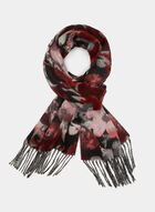Knit Fringe Scarf, Red, hi-res