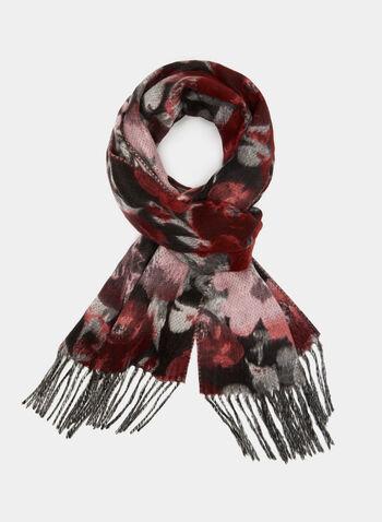 Knit Fringe Scarf, Red, hi-res