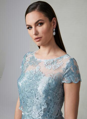 Adrianna Papell - Robe brodée à corsage illusion, Bleu, hi-res