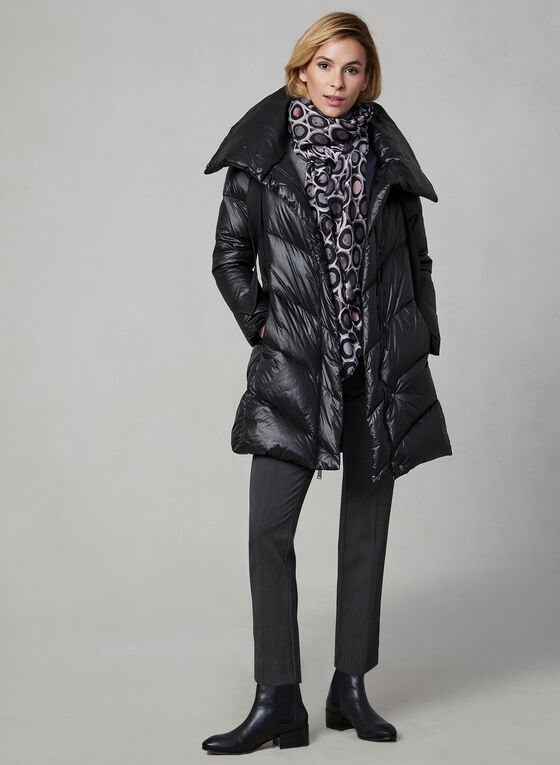 BCBGeneration - Oversized Collar Quilted Down Coat, Black