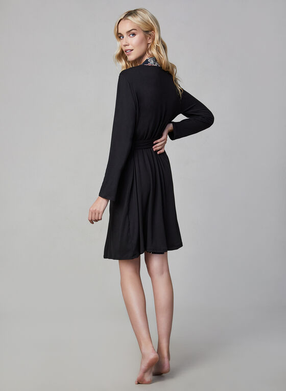 Floral Robe & Nightgown, Black