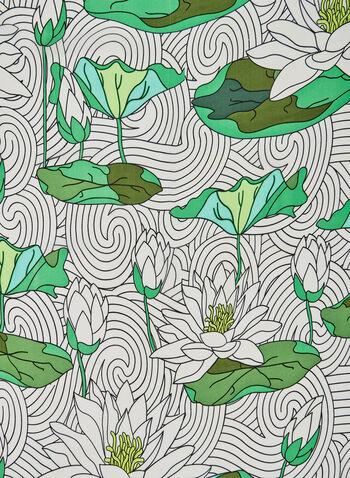 Lotus Print Scarf, Green, hi-res