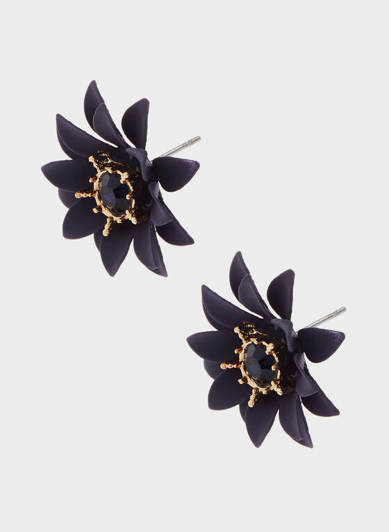 Boucles d'oreilles fleurs et pierres facettées, Bleu, hi-res