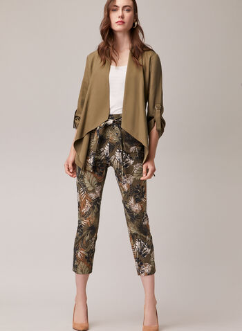 Tropical Print Pull-On Capris, Green,  capris, pull-on, tropical, bengaline, slim leg, tie belt, spring summer 2020