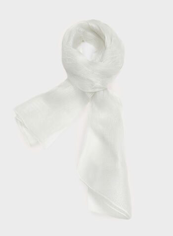 Metallic Fibre Evening Scarf, Silver, hi-res