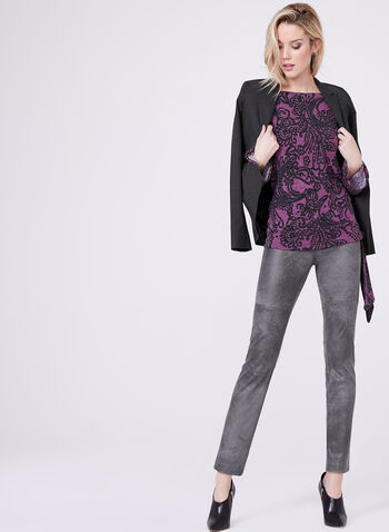 Paisley Print Side Tie Sweater , Purple, hi-res