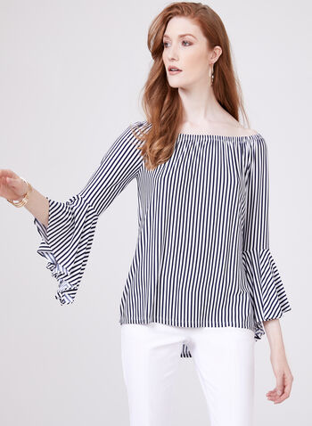 Frank Lyman – Off The Shoulder Stripe Print Blouse, Blue, hi-res