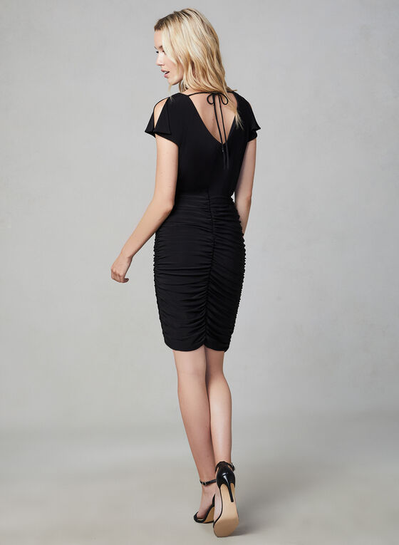 Julia Jordan - Robe fourreau plissée, Noir, hi-res