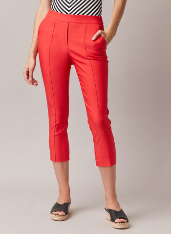 Stitch Detail Pull-On Capris, Orange,  capris, pull-on, bengaline, slim, stitch, pleats, spring summer 2020