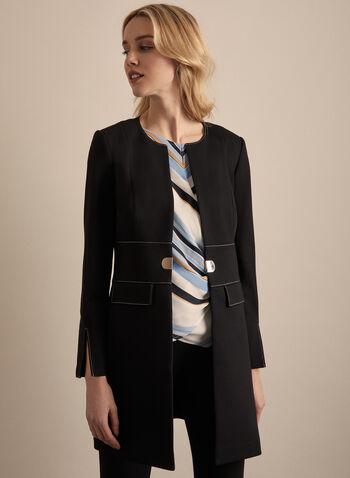 Contrast Stitch Redingote, Black,  jacket, redingote, faux pockets, shoulder pads, round collar, contrast stitching, ponte de roma, spring summer 2020