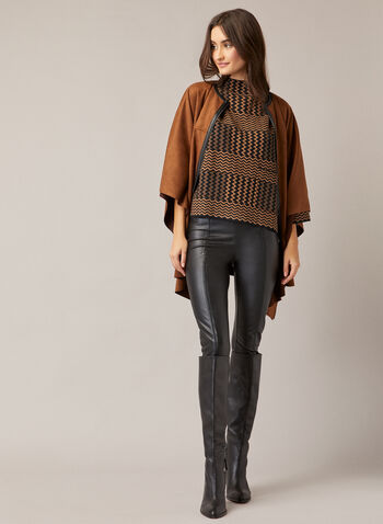 Herringbone Print Sweater , Brown,  fall winter 2020, knit, sweater, herringbone, funnel neck, kimono sleeves, 3/4 sleeve, straight, ample