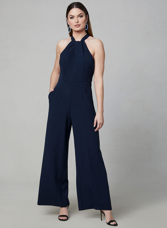 Julia Jordan - Halter Neck Jumpsuit, Blue, hi-res