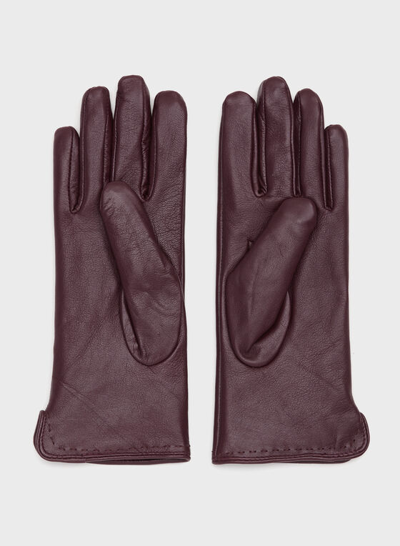 Leather Gloves, Red, hi-res