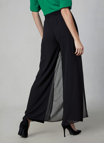 Wide Leg Chiffon Pants, Black, hi-res,  legs, wide leg, pull-on, chiffon, stretchy, fall 2019, winter 2019