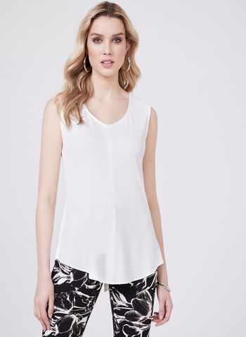 Sleeveless Jersey Top, White, hi-res