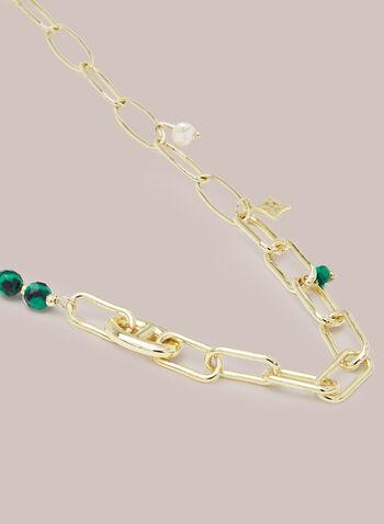 Collier à chaînes et pierres , Vert,  bijoux, accessoires, collier, chaîne, maillons, pierres, breloques, perles, printemps été 2021