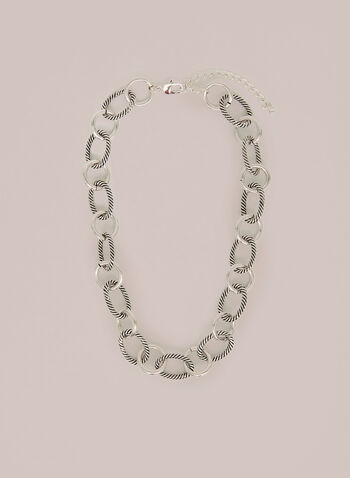Textured & Smooth Chain Link Necklace, Silver,  necklace, metallic, chain link necklace, spring 2020, summer 2020