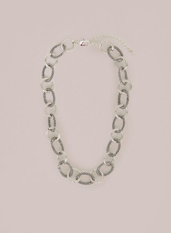 Textured & Smooth Chain Link Necklace, Silver