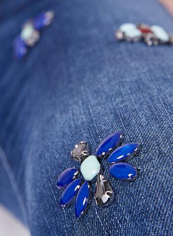 Frank Lyman - Capri orné de fleurs en perles et cristaux, Bleu, hi-res