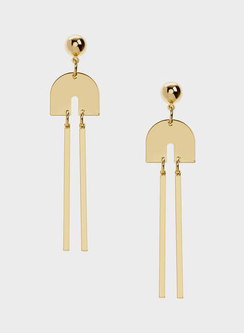 Bar Duo Drop Earrings, Gold, hi-res