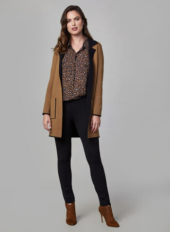 Notched Collar Knit Cardigan, Brown,  long jacket, long blazer, edge-to-edge front