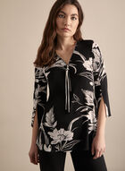 Joseph Ribkoff - Tunique florale à col zippé, Noir